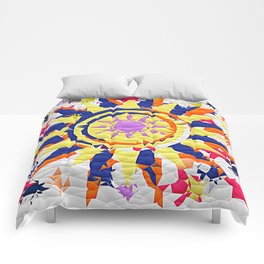 Colorful Quilted sun pattern Abstract Comforters