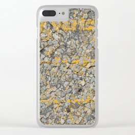 Urban Texture Photography - Yellow Painted Asphalt Clear iPhone Case