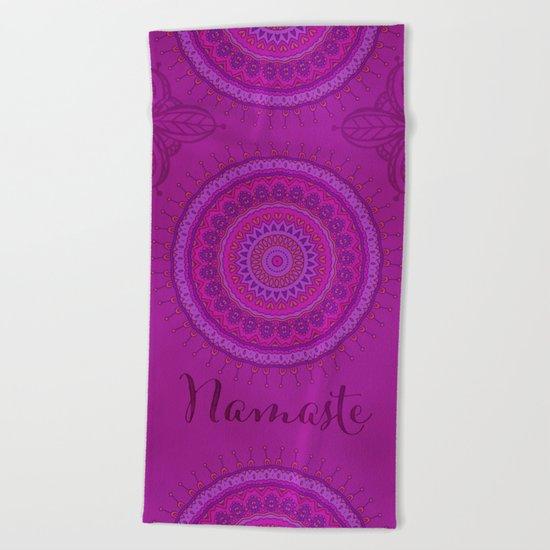 Namaste Mandala Yoga Hindi Symbol Beach Towel