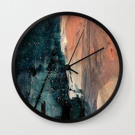 Same Stars [2] - an abstract mixed media piece in blues, pinks, and black Wall Clock