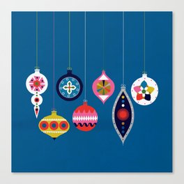 Retro Christmas Baubles on a dark background Canvas Print