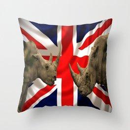 rhino and union jack Throw Pillow
