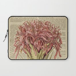 Book Art Page Pink Flower Laptop Sleeve