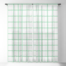 Grid Pattern Green Sheer Curtain