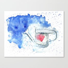 Splash hearted Watering Can - Watercolor painting Canvas Print