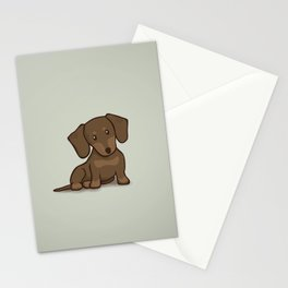 Daschund Puppy Illustration Stationery Cards