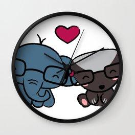 cute elephant & honey badger cuddling Wall Clock