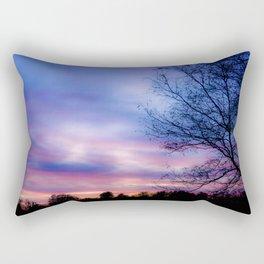 Cotton Candy Sunset Behind a Tree Rectangular Pillow