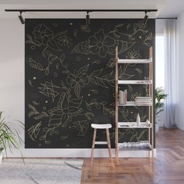 Gold foil floral pattern and geometric triangles on grey Wall Mural
