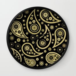 Paisley Funky Design Black and Gold Wall Clock