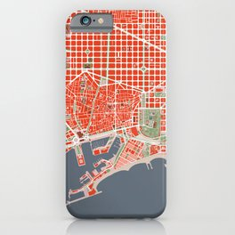 Barcelona city map classic iPhone Case