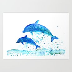 Dolphins, Blue dolphins, watercolor Art Print