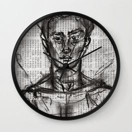 Wanderlust - Charcoal on Newspaper Figure Drawing Wall Clock