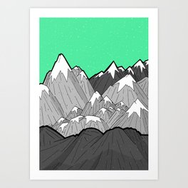 Green Sky Mounts Art Print
