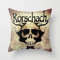 rorschach Throw Pillows featuring Rorschach by Dominic Mastracchio