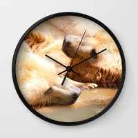 bears Wall Clocks featuring Bears by Sylvia C