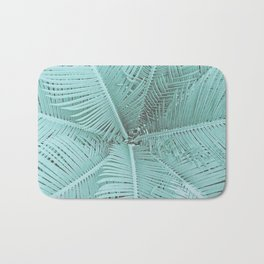 Turquoise Teal Palm Leaves Bath Mat
