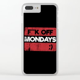 F**K OFF MONDAYS ;) RED GRUNGE Clear iPhone Case