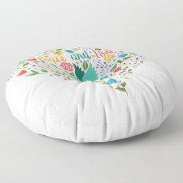 Peace and love floral heart illustration Floor Pillow