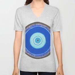 Blue and Silver Evil Eye Mandala Unisex V-Neck
