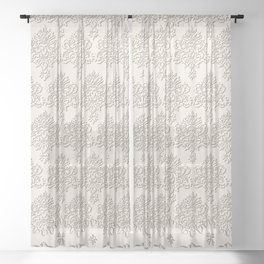 """Damask """"Cafe au Lait"""" Chenille with Lacy Edge Sheer Curtain"""