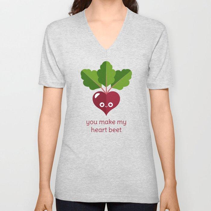 e9f79459114b You Make My Heart Beet Unisex V-Neck by slugbunny | Society6