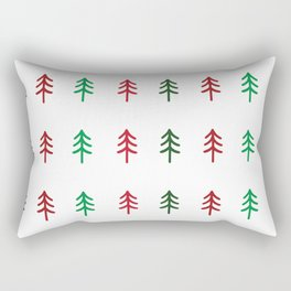 Hand drawn forest green and red trees for Christmas time Rectangular Pillow