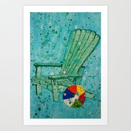 Turquoise Adirondack Beach Chair With Beach Ball Art Print