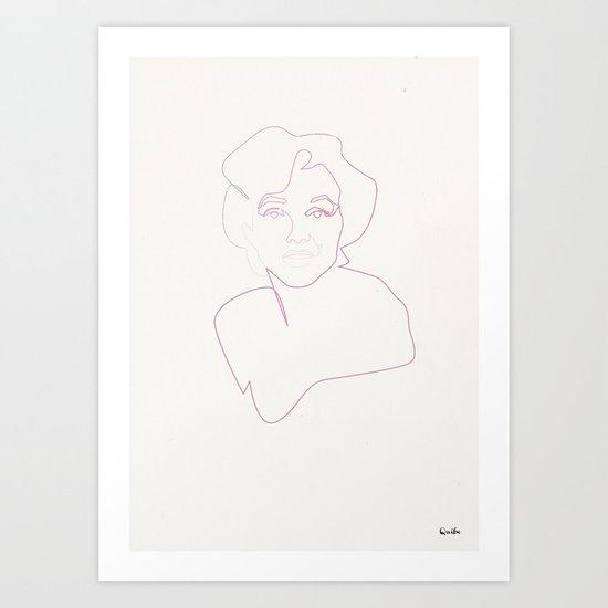 One line Marilyn Monroe Art Print