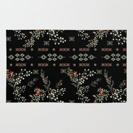 Seamless abstract floral pattern on black background Rug
