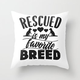 Rescued Dog Throw Pillow