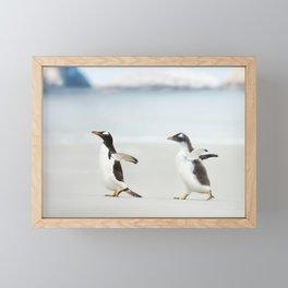 Penguins on the beach Framed Mini Art Print
