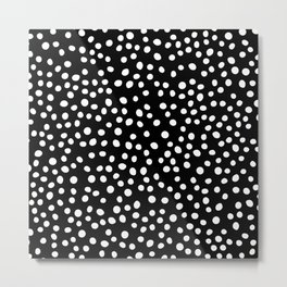 Black and white doodle dots Metal Print