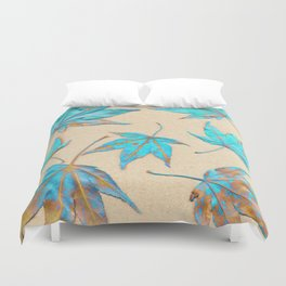 Japanese maple leaves - turquoise and gold on unbleached paper Duvet Cover