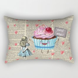 Eat Me - Alice In Wonderland - Vintage Dictionary Page Rectangular Pillow