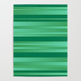 Green Ombre Stripes Poster