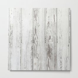 Wood Slatted plank fence background Metal Print