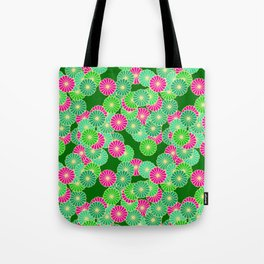 Art Deco Flower Pattern, Shades of Jade Green and Fuchsia Tote Bag