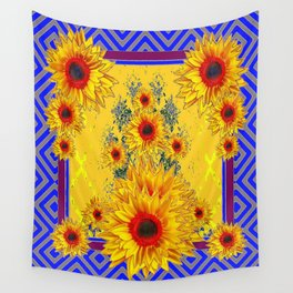 Blue-Grey Yellow-red Sunflowers Pattern Art Wall Tapestry