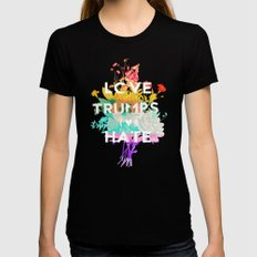 Love Trumps Hate X-LARGE Womens Fitted Tee Black