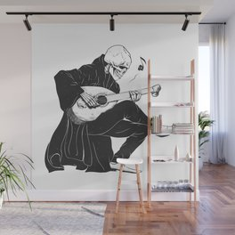 Minstrel playing guitar,grim reaper musician cartoon,gothic skull,medieval skeleton,death poet illus Wall Mural