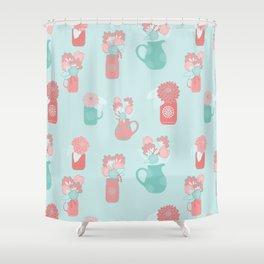 Floral Jugs   Turquoise Palette Shower Curtain