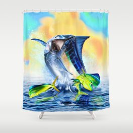 Jumpimg blue Marlin Chasing Bull Dolphins Shower Curtain