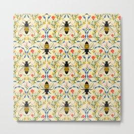 Bee Garden - Cream Metal Print