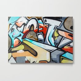 Graffiti blue cyan woman abstract impressionist street art colorful red gray yellow spraypaint urban Metal Print
