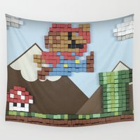 super mario Wall Tapestries featuring Cardboard Super Mario by DLS Design