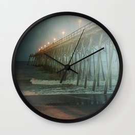 Kure Beach NC Fishing Pier at Night Painterly Wall Clock