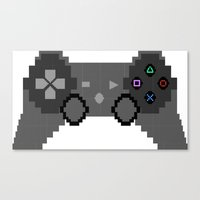 video game Canvas Prints featuring Pixelized Video Game Controller by Merr Peng
