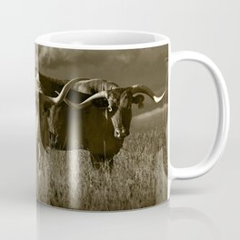 Sepia Tone of Texas Longhorn Steers under a Cloudy Sky Coffee Mug