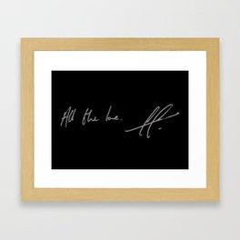 All the love. Framed Art Print